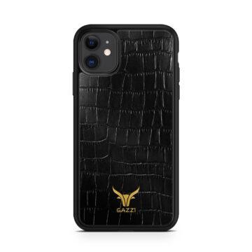 GAZZI_Case_iPhone_11_Kroko_Schwarz_Gold