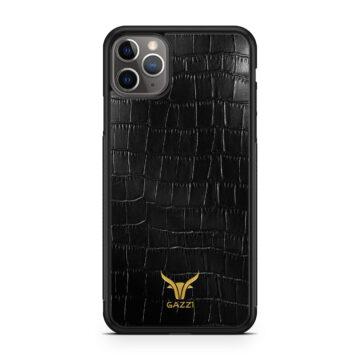 GAZZI_Case_iPhone_11_Pro_Max_Kroko_Schwarz_Gold